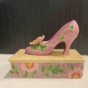 Vintage Floral High Heel Trinket Box